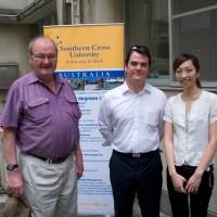 Tokyo / Saitama - John Dowd and embassy staff at Saitama evacuation centre.