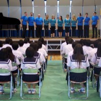 Gifu - Singing for local high school.