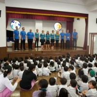 Hiroshima - Kindergaten show. Kids were tired and crazy, but loved the show. Especially Jesse.