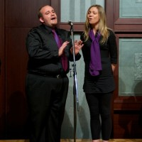 Hiroshima - Jesse and Sarah putting energy into our Japan-Australia Society performance.