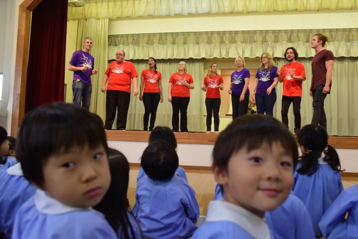 Performing for Kindergarten children in Nara.