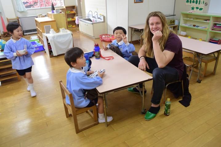 Jake enjoying lunch with the kids at Nara Kindergarten.