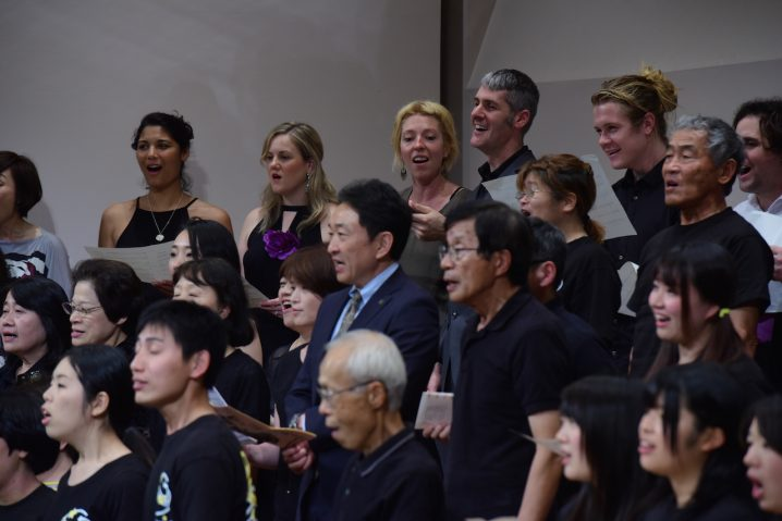 Group singalong at the end of the Fukuoka concert.