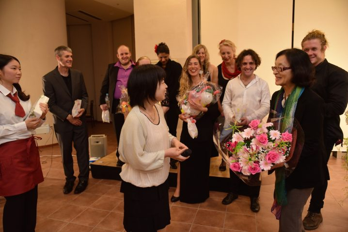 Getting gifts and flowers at the end of our performance! (Photo: David Nielsen)